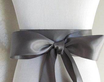 Pewter Satin Ribbon Sash / Ribbon Sash / Satin Bridal Sash /  Bridesmaid Sash / Pewter / Dark Gray