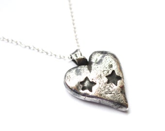 Silver Heart & Stars necklace