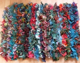 Primitive Folkart  shabby chic rag rug  Beaconhillcollectibles  We ship international