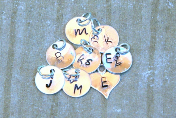 Add A Charm:  Personalized, Hand Stamped, Sterling Silver 9mm Disc