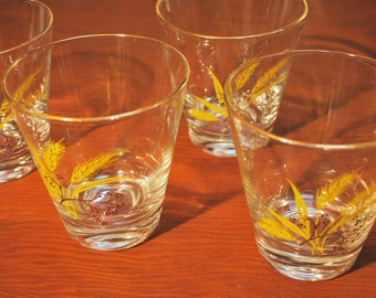 Set of Four Great Retro Autumn Gold Wheat Double Old Fashioned Tumblers