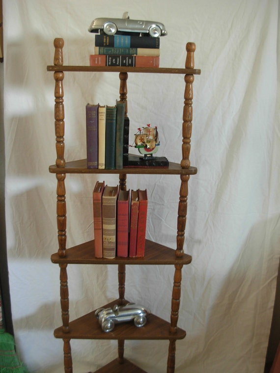 Vintage Corner Shelf Wood Spindles Display By