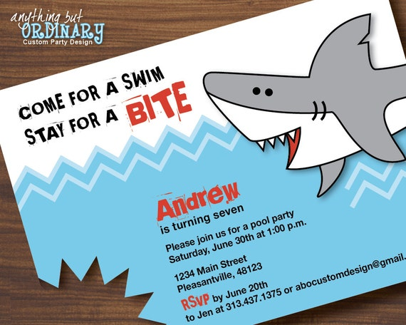 Shark Birthday Invitations Printable Shark Invites Shark – Shark Invitations Birthday Party