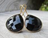 Black Onyx Earrings- Pear Shape Black Earrings- Drop and Dangle Earrings- Black Stone Earrings- Faceted Gemstone Ear Wire Earring