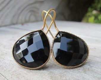 Classic Black Onyx Earring- Pear Shape Black Earring- Simple Black Dangle Earring- Black Stone Earrings- Faceted Black Earring