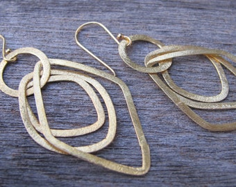 Gold Dangle Earrings- Gold Hoop Earrings- Silver Loop Earrings- Sterling Silver Hoop Earrings- Gold Statement Earrings- Hoop Earrings