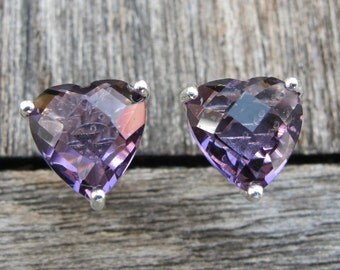 Heart Purple Amethyst Stud- Heart Shape Earring- Unique Purple Earring- Sterling Silver Earring- February Birthstone Earring- Prong Earring