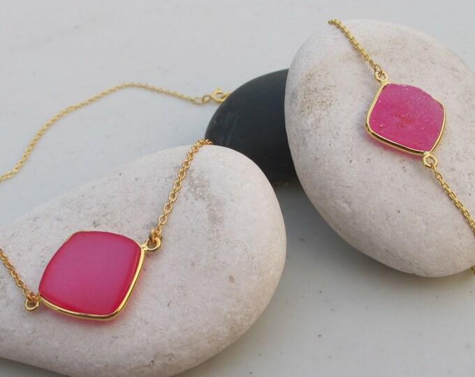 Triangle Pink Druzy Jewelry Set- Pink Druzy Necklace Bracelet- Simple Pink Druzy Necklace Bracelet - Sparkly Classic Druzy Jewelry