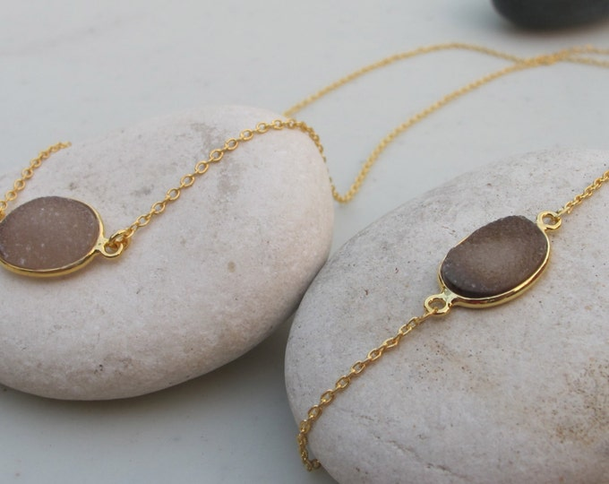 Oval Brown Druzy Jewelry Set- Druzy Bracelet Necklace Set- Brown Druzy Jewelry- Brown Gemstone Jewelry- Simple Jewelry Set