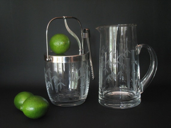 Sasaki Etched Crystal Ice Bucket And Pitcher With Tongs And