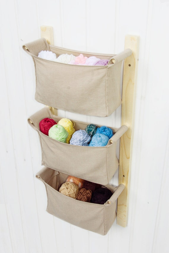 Wooden Wall Hanging Organizer With Fabric Bins Solid By Odorshome