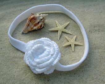 Crochet Camellia Headband in Coconut // White Crochet Flower Infant Headband // Handmade White Flower Headband Infant Photo Prop