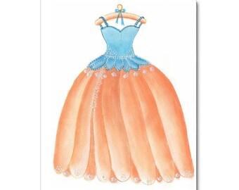 Baby girl nursery, Girls room decor, Nursery Wall Art, Fairy Princess, Nursery decor, Fairy Dress, Kids Decor, Nursery prints, Aqua, Peach