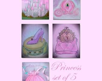 Princess Decor, Nursery Wall Art, Nursery prints, Princess wall art, Nursery decor, Cinderella, Shoe, Crown, Carriage, Castle, Girls decor