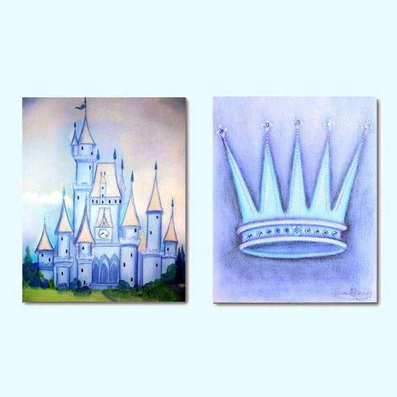 Prince Crown Wall Decoration : Kids wall art castle nursery decor prince by handpainting
