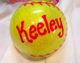 Softball Christmas Ornament, Hand Painted, Personalized Ornament
