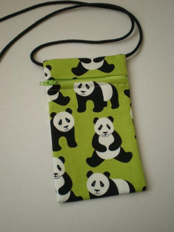 Pouch Zip Bag Green PANDA Fabric.  Great for walkers, markets, travel.  Small fabric pouch. Cell phone pouch.