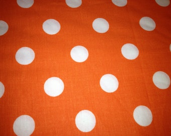 "Rectangler 44"" X 108"" Orange with White Polka Dots Table Cloth. Will fit your 8 foot table."