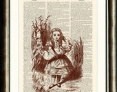 Alice in Wonderland print book page vintage print on a page from a late 1800s Dictionary Buy 3 get 1 FREE