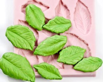 Silicone Leaf Mold - Rose Flower Leaf Mold - Create 8 Leaves - Fondant Leaf Mold - Candy Leaf Mold - Sugar Leaf Mold - Mint Leaf Mold (709)