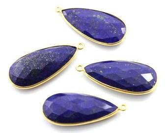 Natural Lapis Lazuli, Bezel Pear Shape Chalcedony Component, Gold Vermeil ,  15x30mm 1 Piece, (BZC7072)