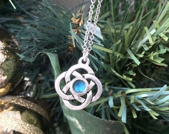 Silver Celtic Knot Necklace, Teal Jewelry, Celtic Knot Design, Stainless Steel or Black Leather Necklace Chain
