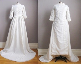 1960s Vintage Wedding Gown Chapel Train 60s Bridal Dress Modest High Neck Long Sleeves / Small