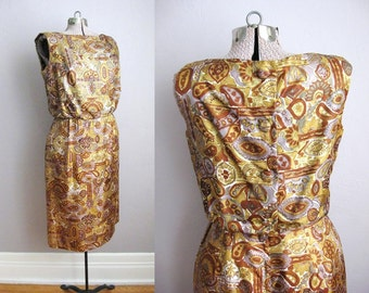 50s Dress Button Back Paisley Floral Print 1950s Dress / Medium Large