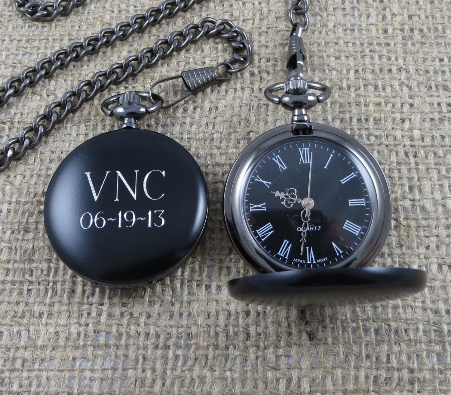black pocket watch personalized engraved groomsman gifts 🔎zoom