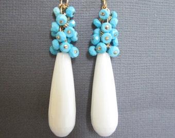 Cluster Earrings, Turquoise wrapped Earrings, hand wrapped earring, Long White bead earrings, Wedding jewelry, Birdesmaid Earrings