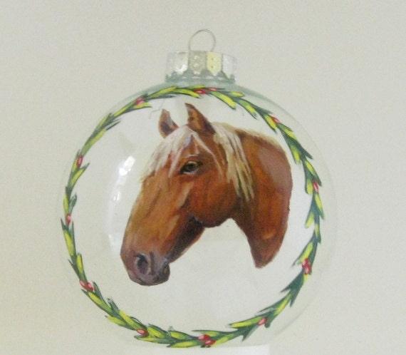 Horse Painting, Christmas Ornament, Custom Pet Portrait, Holiday Decor, HandPainted Horse, Equestrian Art, Pet Loss Memorial, Christmas Ball