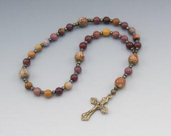 Protestant Prayer Beads - Anglican Rosary - Bronze Crucifix - Moukaite Jasper - Baptism Gift - Item # 784