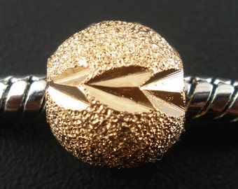 5 Pieces Gold Plated Stardust European Spacer Beads