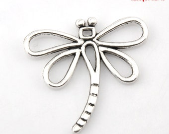 5 Pieces Antique Silver Dragonfly Charms