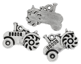 10 Pieces Antique Silver Tractor Charms