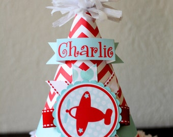 Birthday Party Hat, Airplane Party Hat, Vintage Plane Party Hat, Red & Turquoise Party Hat
