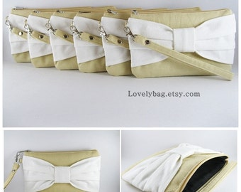 Set of 8 Wedding Clutches, Bridesmaids Clutches / Cream with Ivory Bow Clutches - MADE TO ORDER