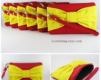 SUPER SALE - Set of 8 Wedding Clutches, Bridesmaids Clutches / Red with Yellow Bow Clutches - Made To Order