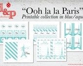 Paris in blue/aqua Instant Download Printable Collection