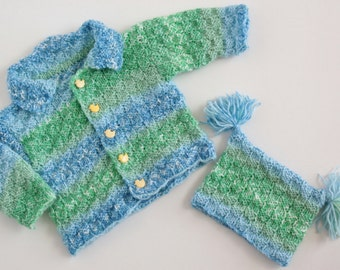 hand knitted baby sweater and hat fits 3-9 months