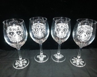 Custom Etched Sugar Skull Wine Glasses