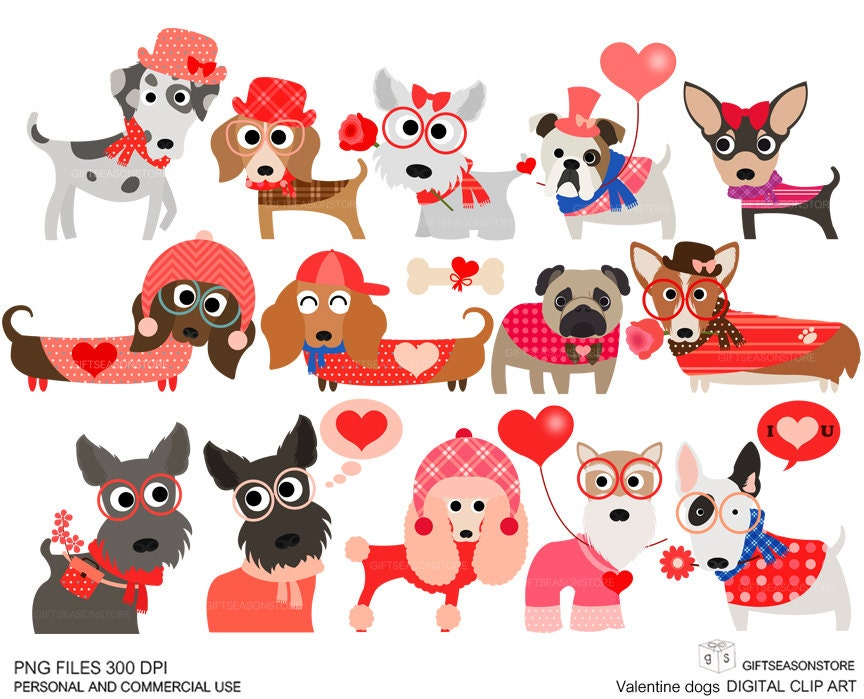 Valentine dogs clip art for Personal and Commercial use