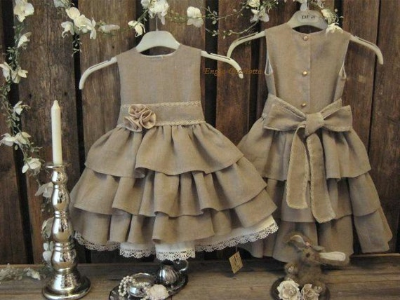 Rustic flower girl dress. Dark beige country flower girl dress. Toddler girls ruffle dress. Linen flower girl dress, burlap wedding.