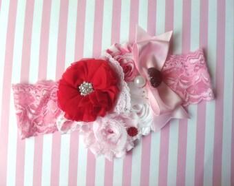 Valentines Headband, Baby headband,Vintage Shabby Flower headband, Baby Girls Headbands, Newborn headband, Photography newborn baby props