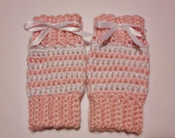 Crochet (0-3 mo) Baby Boy or Girl Leg Warmers Newborn Infant Photo Prop Striped Leg Warmers - Various Colors