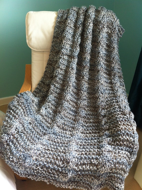 Knitting Pattern Blanket Throw : Knitting pattern Simple Chunky Cable Blanket / Throw.