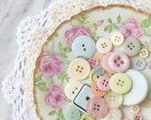 Grandma's Buttons - 5x5 square fine art photograph - pastel vintage buttons
