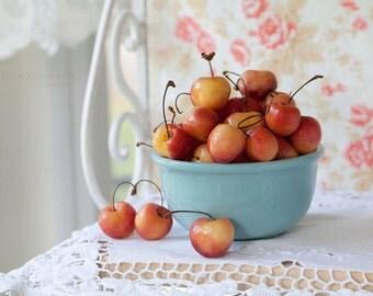 Kitchen Art Still Life - Fine Art Photography - Turquoise Bowl of Cherries