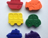 Set of 6 Eco-Friendly Soy/Bees Wax Things That Go Crayons- Great First Crayon