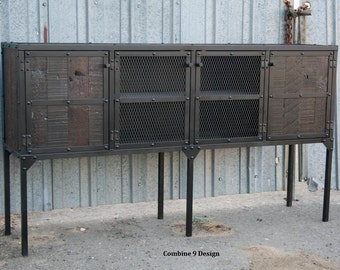 Industrial Buffet/Hutch. Rustic Media Console. Reclaimed wood, industrial style. Distressed wood. Handmade and customizable.